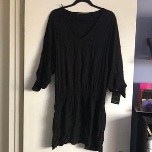 Zara black drop waist dress